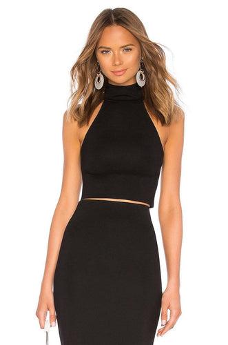 Turtleneck Crop Top in Black