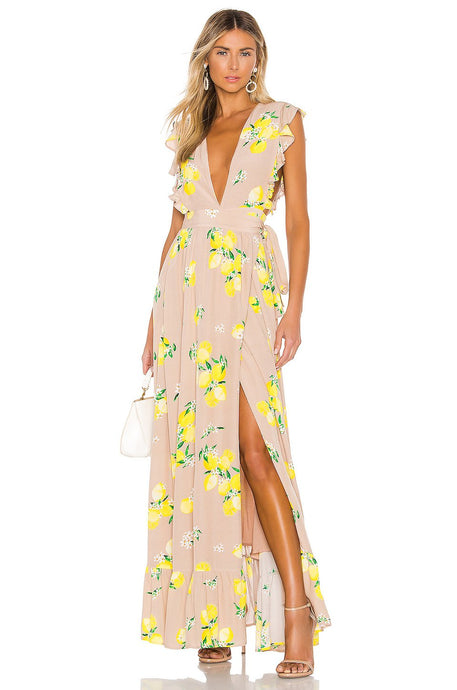 Sweet Pea Floral Maxi Dress in Tan Lemon