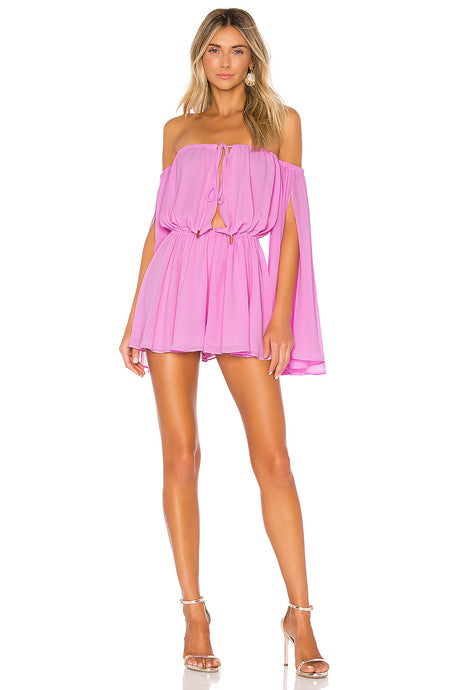 Mishka Off The Shoulder Romper in Lilac