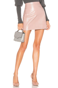 Crinkle Leather Modern Mini Skirt in Blush