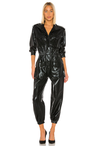 Turtle Cargo Jumpsuit in Black Foil