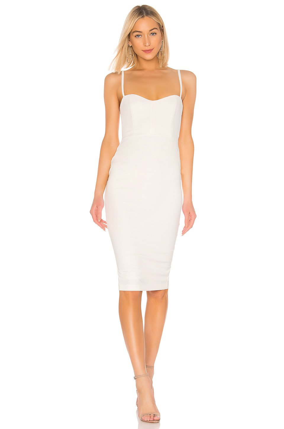 Allure White Cocktail Midi Dress in Ivory