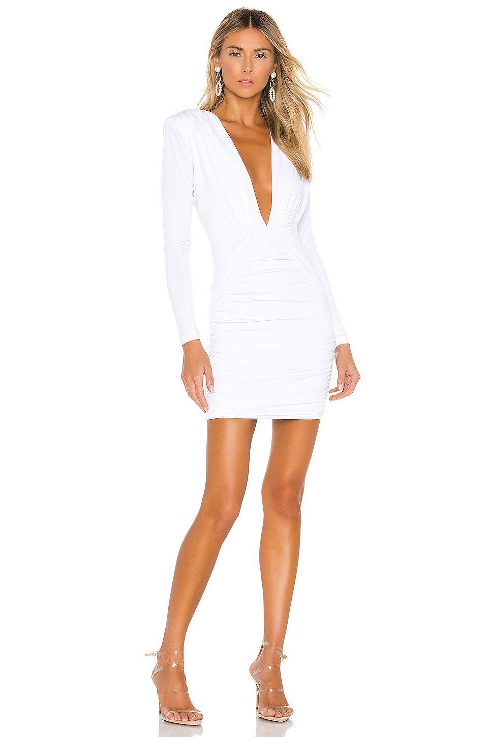 Temptation Long Sleeve Mini Dress in White