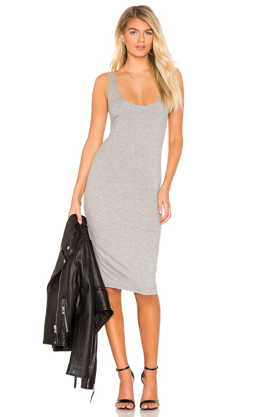 Joan Midi Dress in Heather Grey