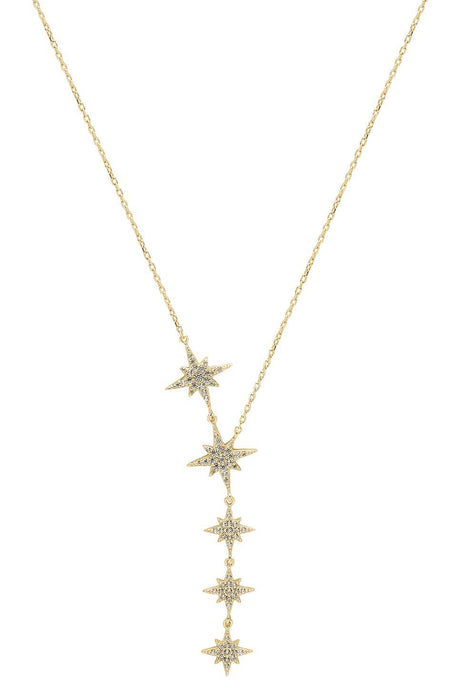Starburst Lariat Necklace in Yellow Gold