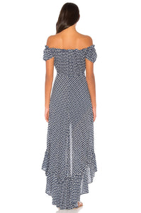 Riviera Maxi Dress in Sleet Navy & White