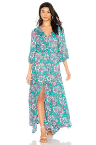 Surry Floral Maxi Dress in Lei Bright Blue