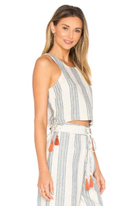 Marley Crop Top in Chambray Stripe