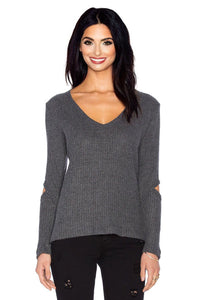 Deep V Durango Pullover Sweater in Charcoal