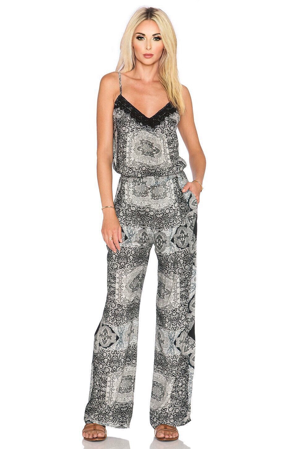 Printed Jumpsuit in Zahara Black