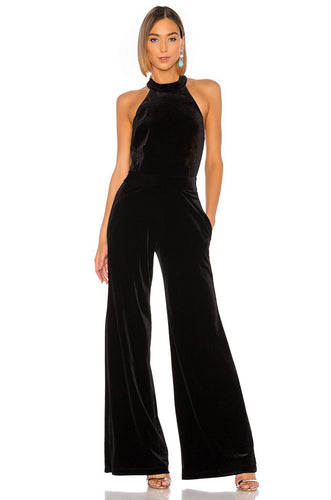 Xandra Velvet Jumpsuit in Black