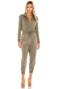 Mixed Media Jumpsuit in Sergeant