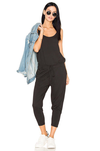 Supreme Jersey Sleeveless Jumpsuit in Black