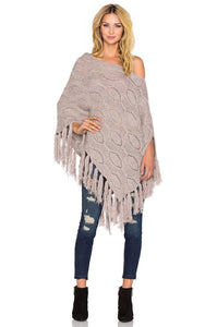 Cable Brown Poncho Sweater in Confetti