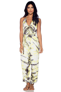 Talia Jumpsuit in Yellow & Grey Shorebreak