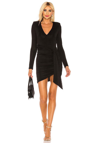 Kyra Deep V Drapey Mini Dress in Black