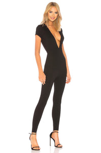 Leona Deep V Catsuit in Black