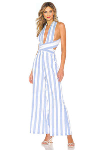 Kia Striped Jumpsuit in Blue & White