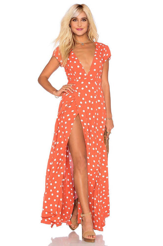 Sid Wrap Maxi Poka Dot Dress in Roselle