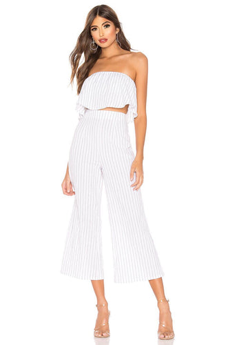 Brooke Pant Set in White Stripe