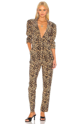 Tapered Leg Jumpsuit in Golden Leopard