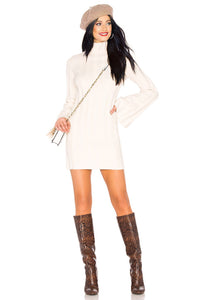 Taytay Mini Sweater Dress in Ivory