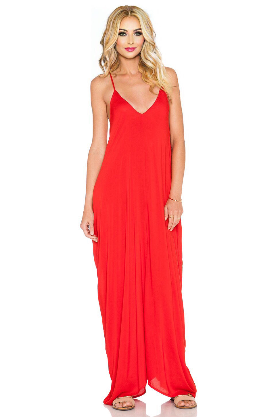 Nala Flow Maxi Dress In Red