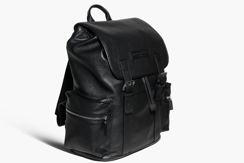 Paolo - Black Leather/Jacquard - Business Backpack