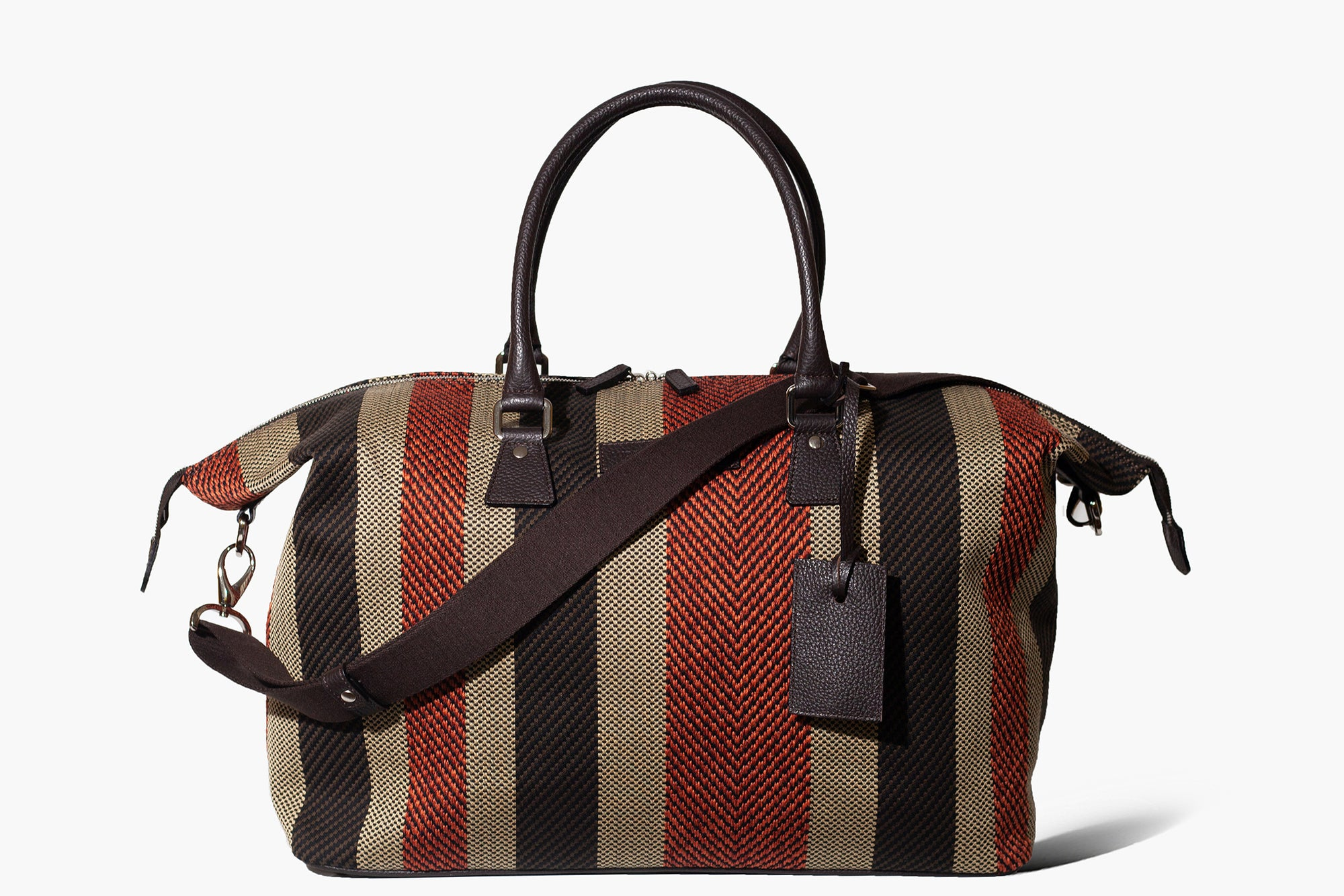 Latone - Red Malindi/Regimental + Fan - Weekender bag
