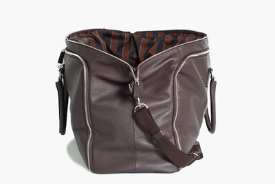 Flamingo - Brown Leather/Regimental - Garment Weekender