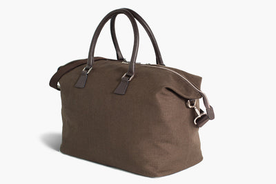 Borsone Weekender Bag | Latone | Lino Marrone/Regimental - Ludovico Marabotto