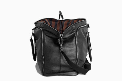Flamingo - Black Leather/Regimental - Garment Weekender