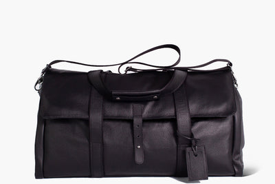 Reginald - Black Leather/ Regimental - Garment Weekender