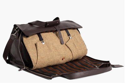 Garment Weekender - Reginald - Brown Leather/ Regimental