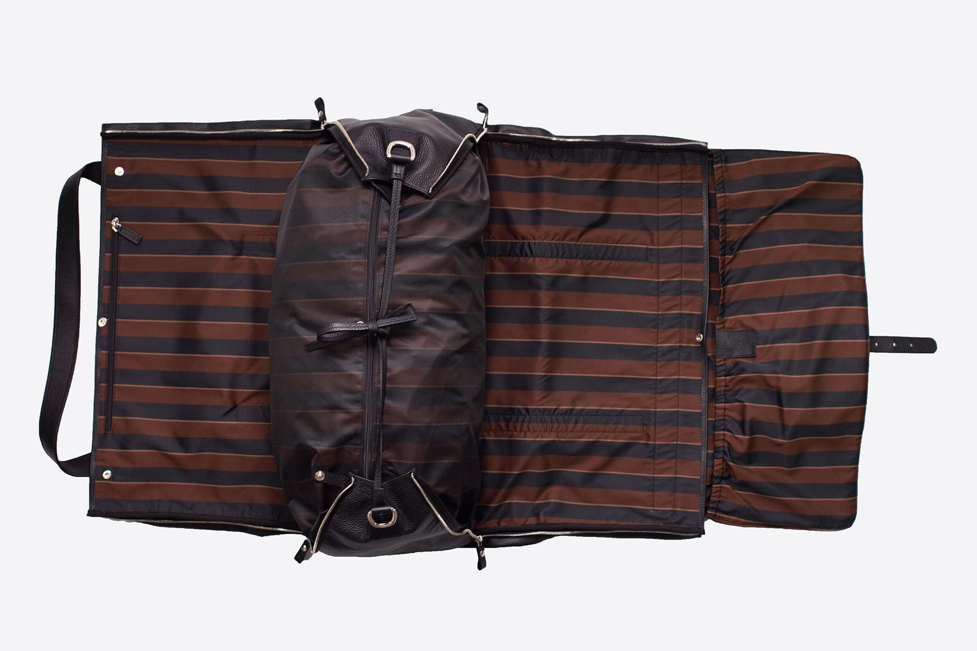 Best Garment Duffle Bag - Black Leather & Regimental
