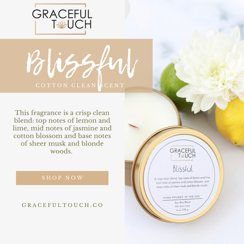Blissful woodwick soy wax candle