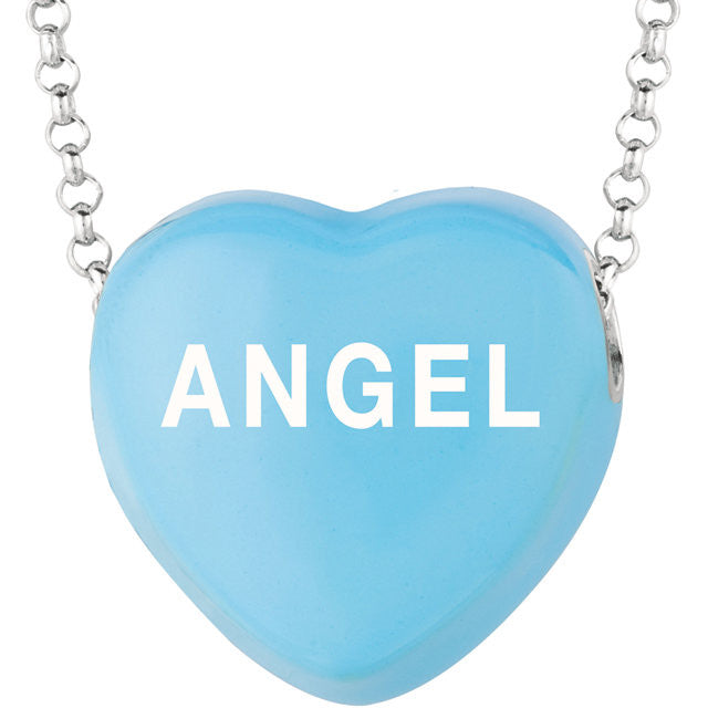 "Sweethearts®  Enamel ""ANGEL"" on 16"" Sterling Silver Necklace with Gift Box -  ID You & Co."