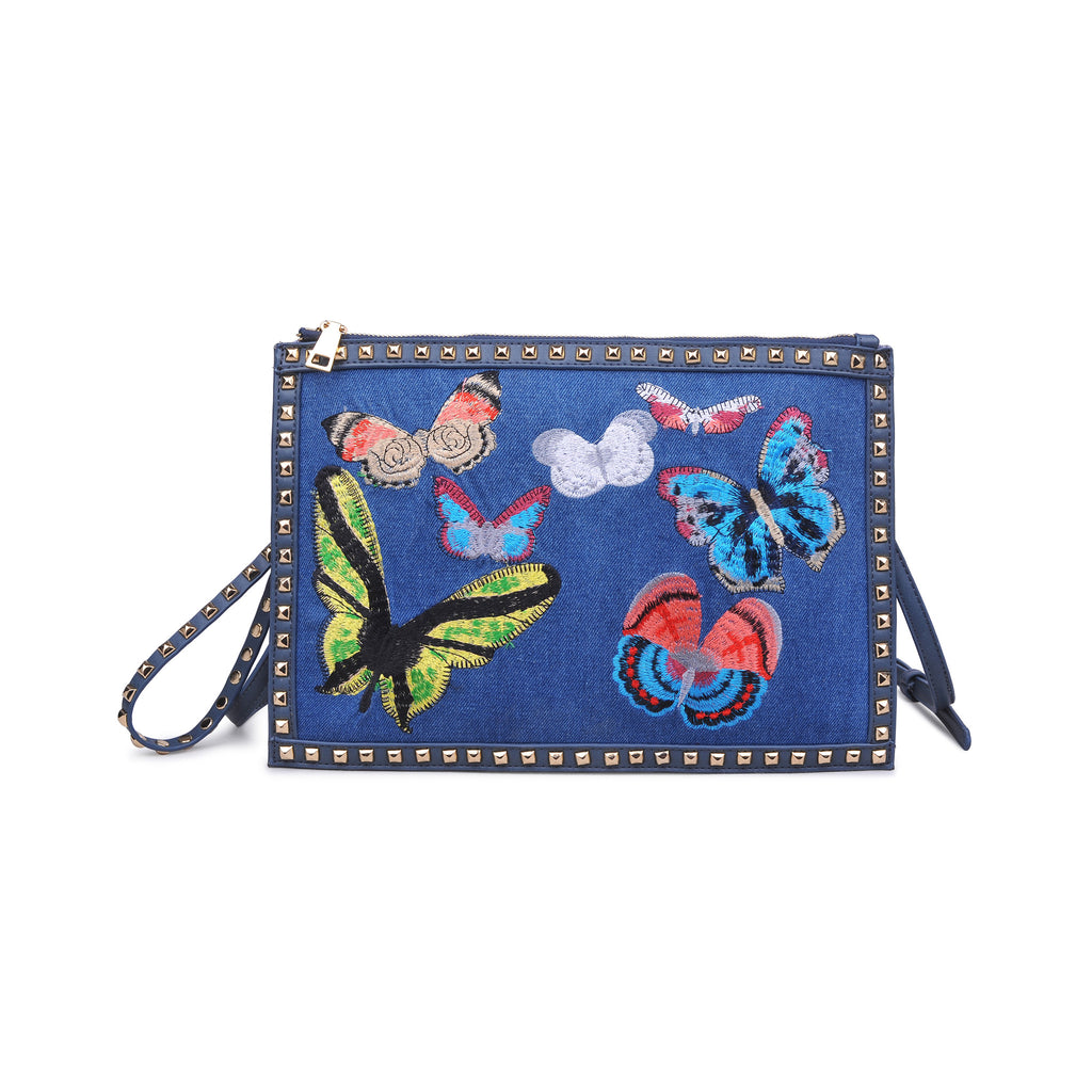 DENIM STUDDED EMBROIDERED BUTTERFLY CLUTCH LIBBY BY URBAN EXPRESSIONS -  RHEAS.ONLINE
