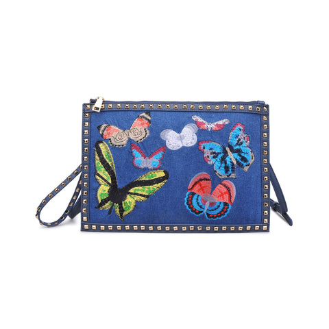 DENIM STUDDED EMBROIDERED BUTTERFLY CLUTCH LIBBY BY URBAN EXPRESSIONS -  ID You & Co.