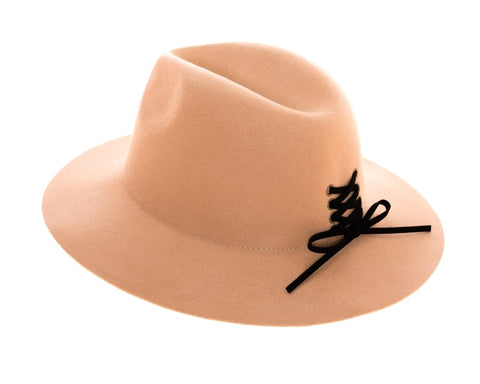 Wool Panama Hat with Lace Up Tie Accent -  RHEAS.ONLINE