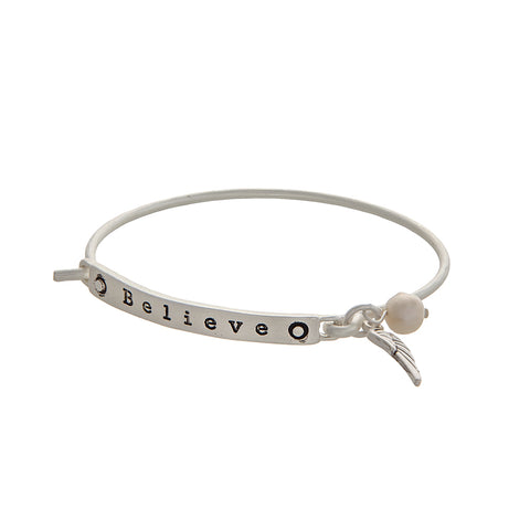 Matter Silver BELIEVE Bracelet with charms -  ID You & Co.