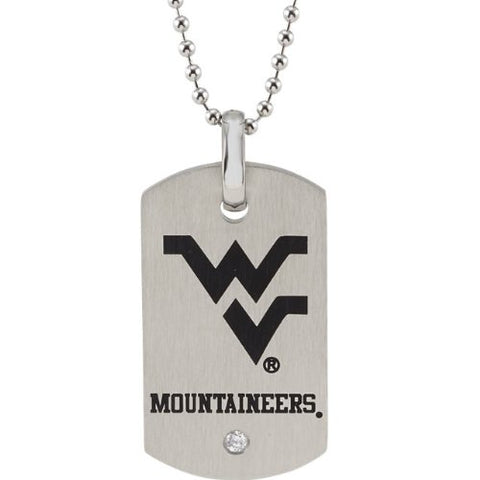"West Virginia Mountaineers Stainless Steel Logo Dog Tag with 27"" Chain & Cubic Zirconia Diamond Accent -  RHEAS.ONLINE"
