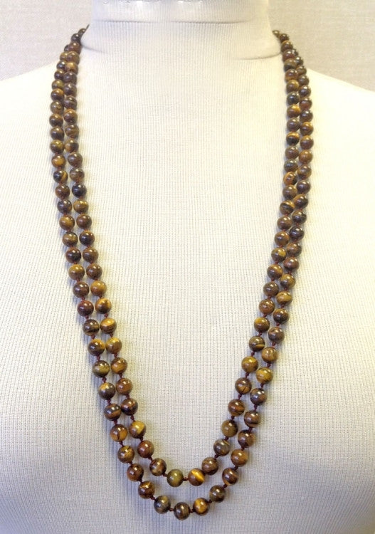 "Tigers Eye Hand Knotted Necklace 60"" -  ID You & Co."