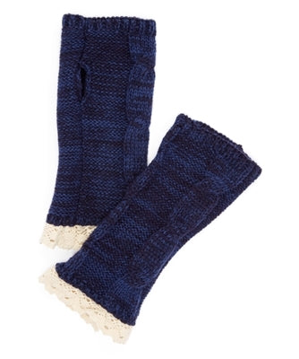 Marled Knit Lace Trim Fingerless Gloves -  ID You & Co.