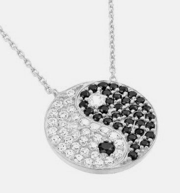 Yin Yang Sterling Silver & Cubic Zirconia Necklace -  ID You & Co.