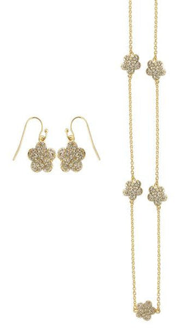 "Daisy Double Sided Pave Crystal 42"" Necklace & Earrings Set -  RHEAS.ONLINE"