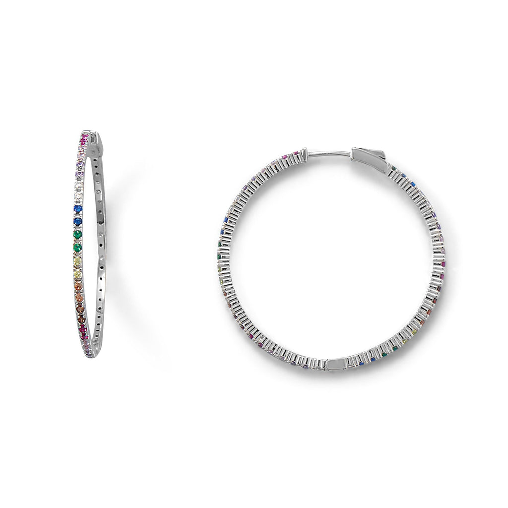 Rainbow Multi Color CZ Hoop Earrings -  ID You & Co.