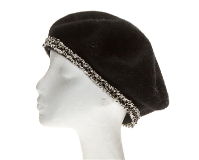 Wool Beret With Sparkle Tweed Trim