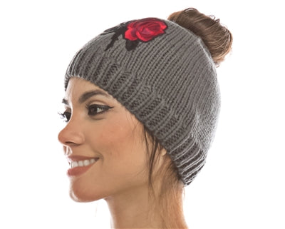 Messy Bun Hat with Rose Embroidery