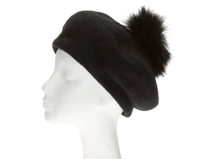 Wool Beret with detachable Ostrich Pom Pom